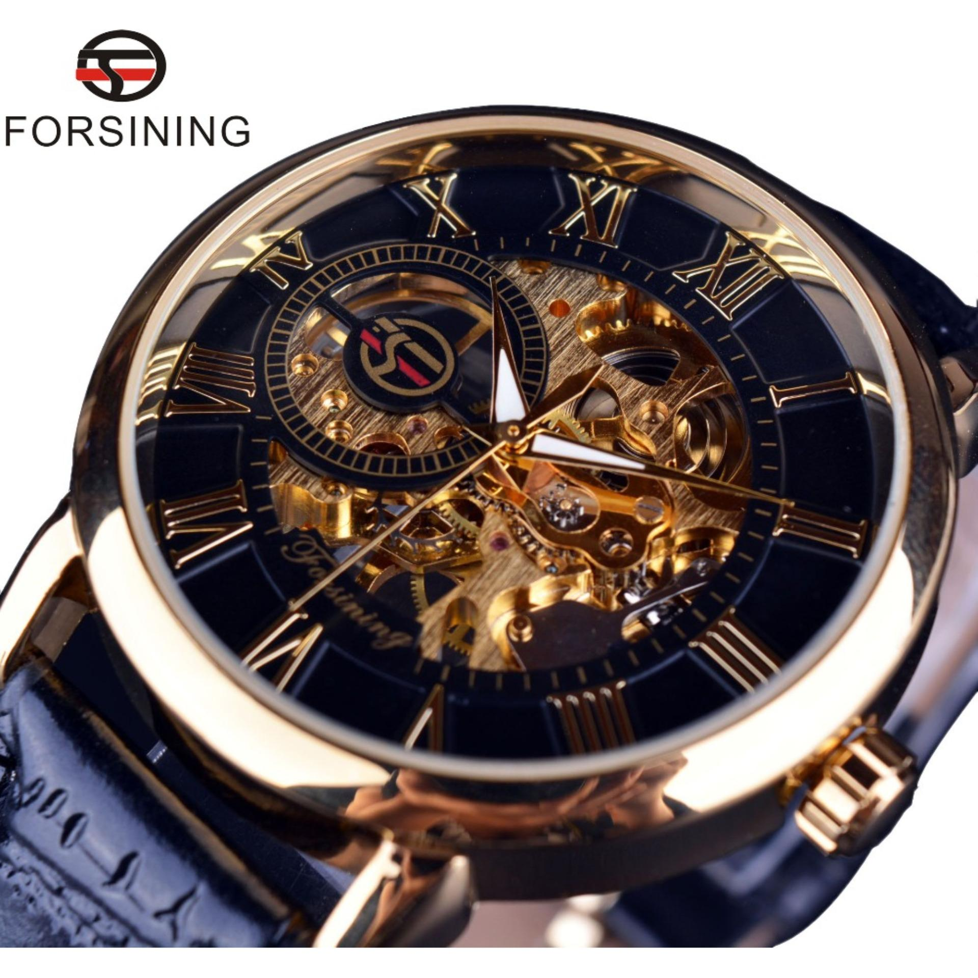 Forsining Asli Hollow Men's Mechanical Watch Pria Watch Black-Intl