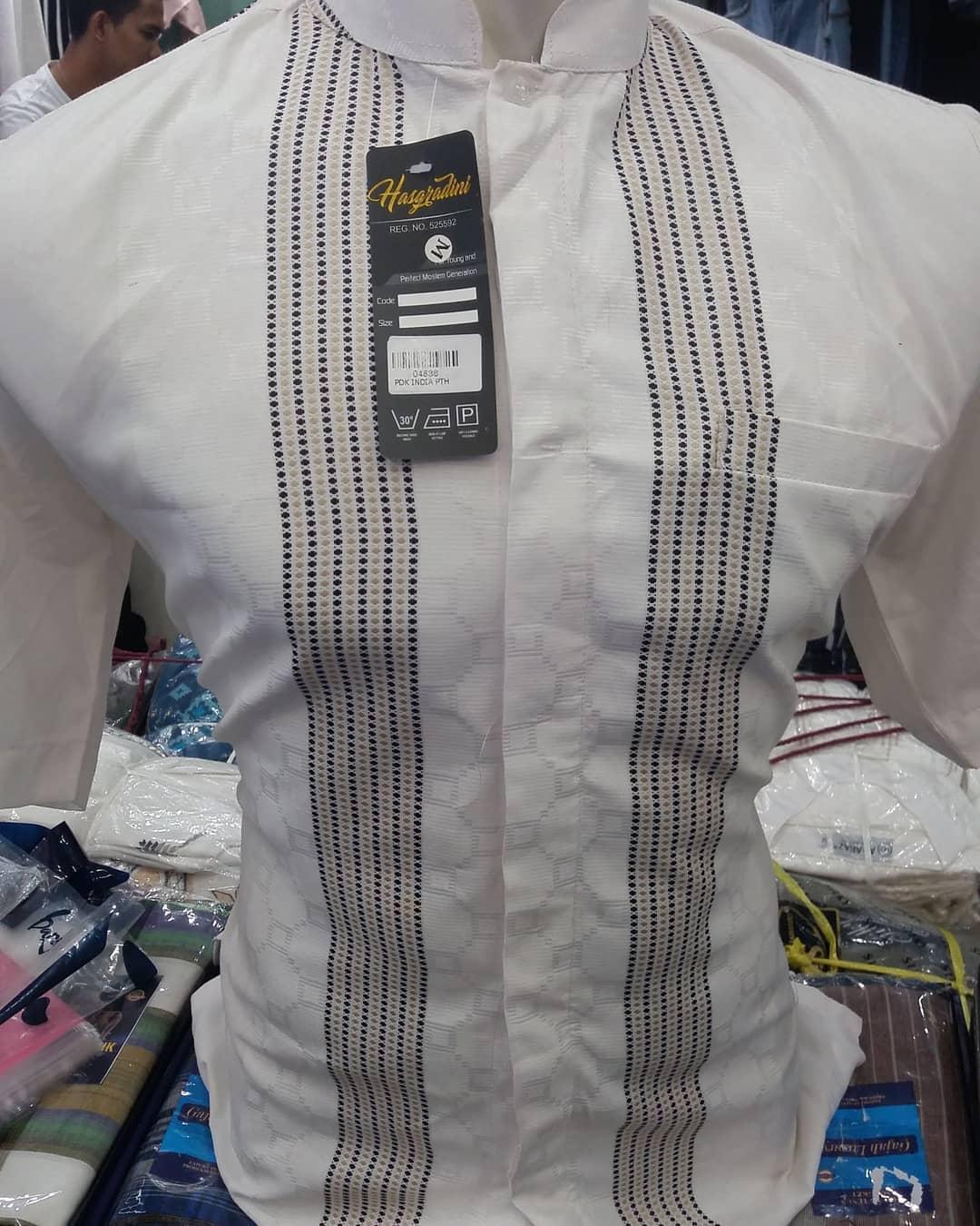 Baju Muslim Original Koko Motif Sulam Cotton Serat Super Atasan Pria Pakaian Lebaran Casual
