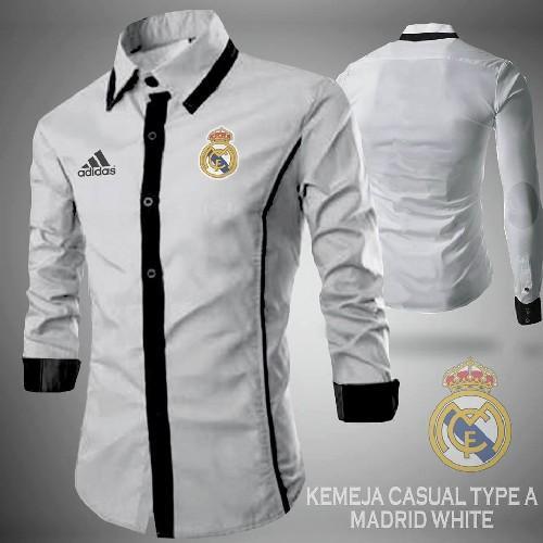 Baju Kemeja Bola Casual Real Madrid Full Bordir Putih
