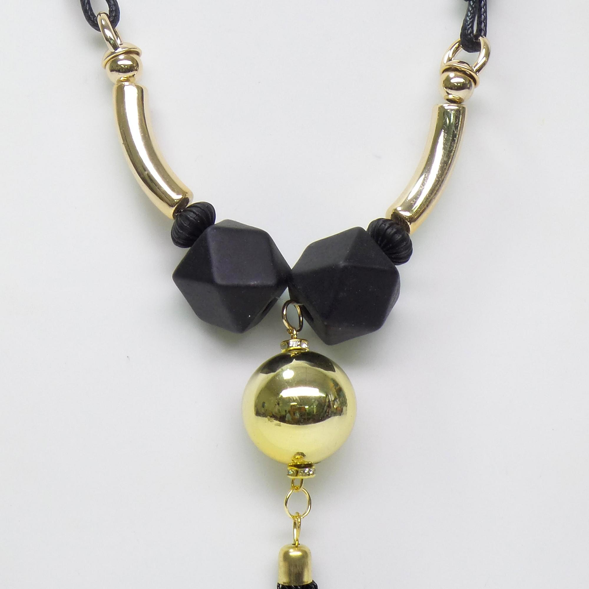 Detail Gambar OFASHION Aksesoris Kalung CA-180314-K003 Necklace Fashion Xuping Jewelry Hitam Hitam