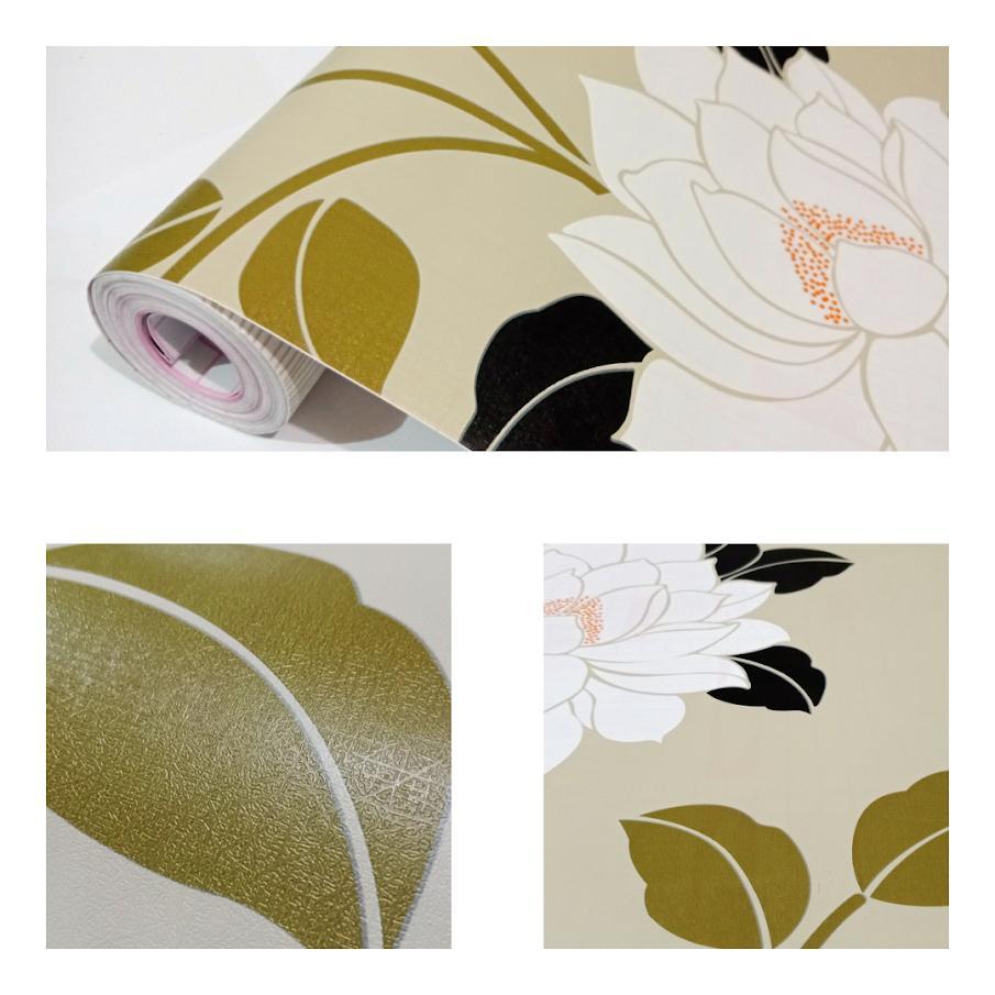 Grosir murah wallpaper sticker dinding kamar ruang indah coklat susu bunga putih daun hijau dan hitam