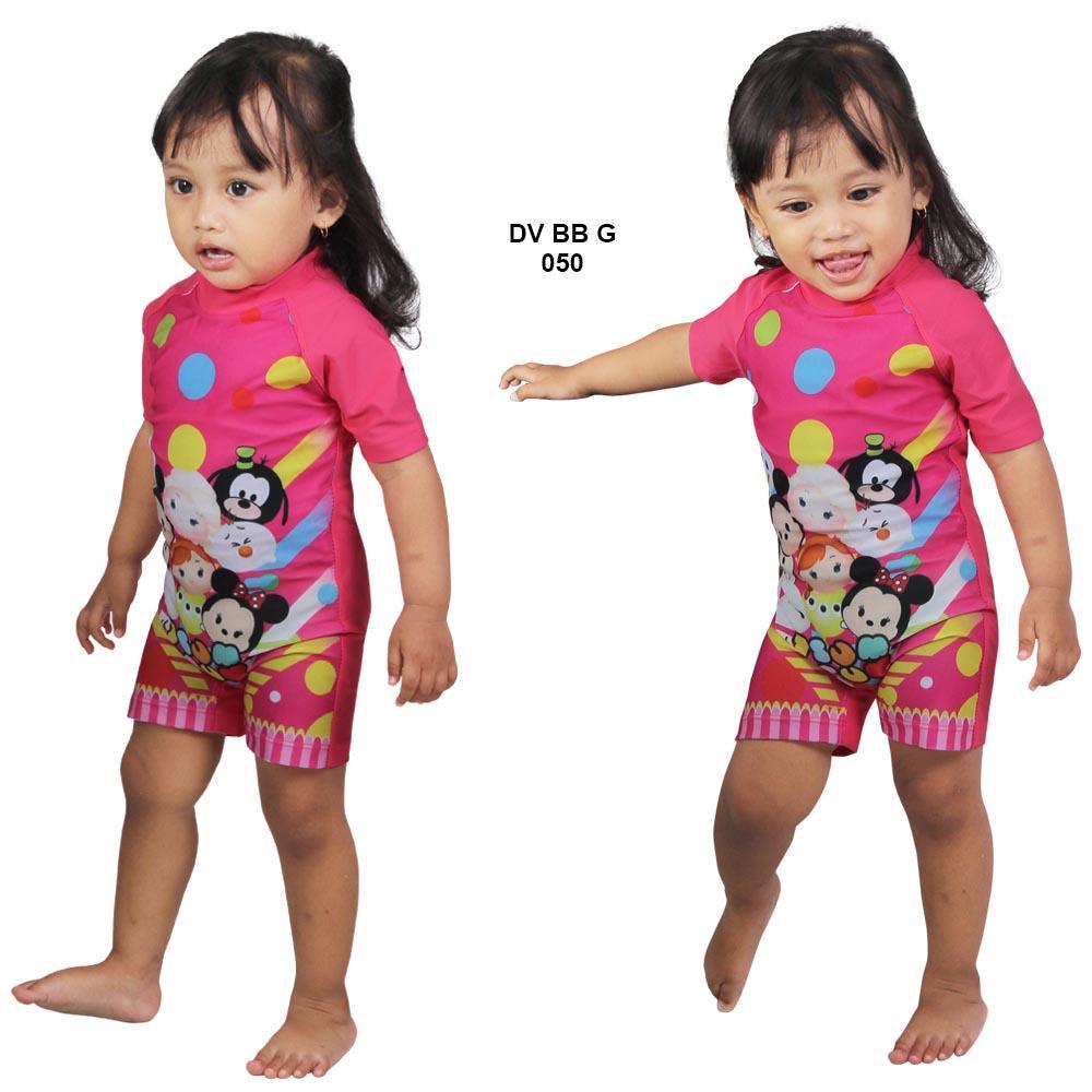 Usia 1-2 Tahun Baju Renang Bayi Perempuan Diving Karakter dan Polos
