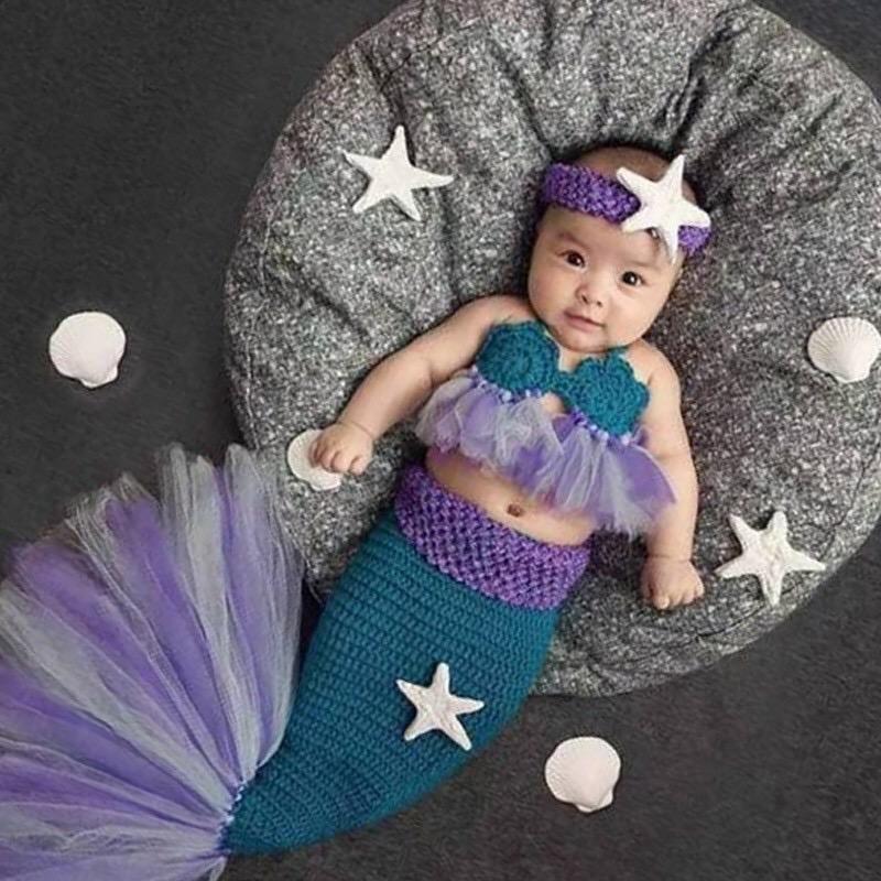Dress mermaid Baju Putri duyung untuk anak baru lahir untuk Foto taking