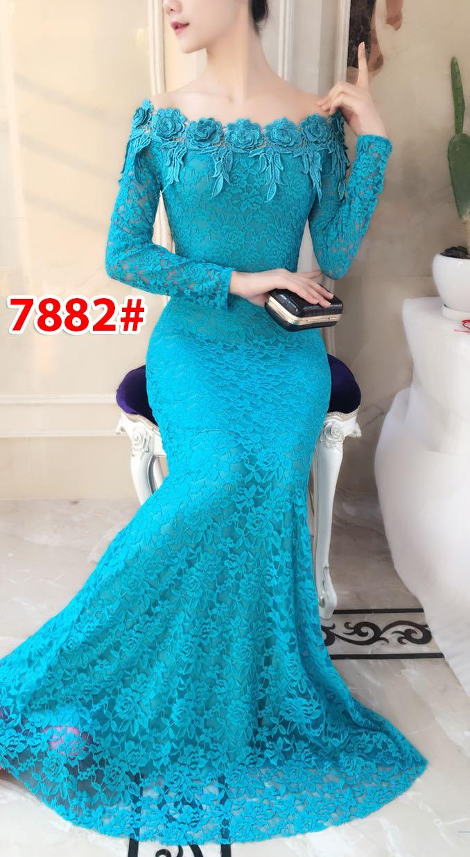 GSD - Longdress / Baju Pesta / Baju Wanita / Gaun Pesta/ Dress Brukat / Gaun Import 7882