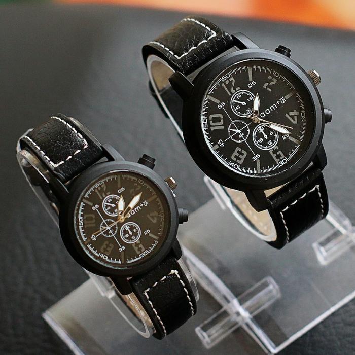 jam tangan couple bahan kulit termurah / jtr 1197 hitam / jam tangan couple / jam tangan model terbaru / jam tangan murah / jam tangan casual / jam tangan modis / jam tangan elegant