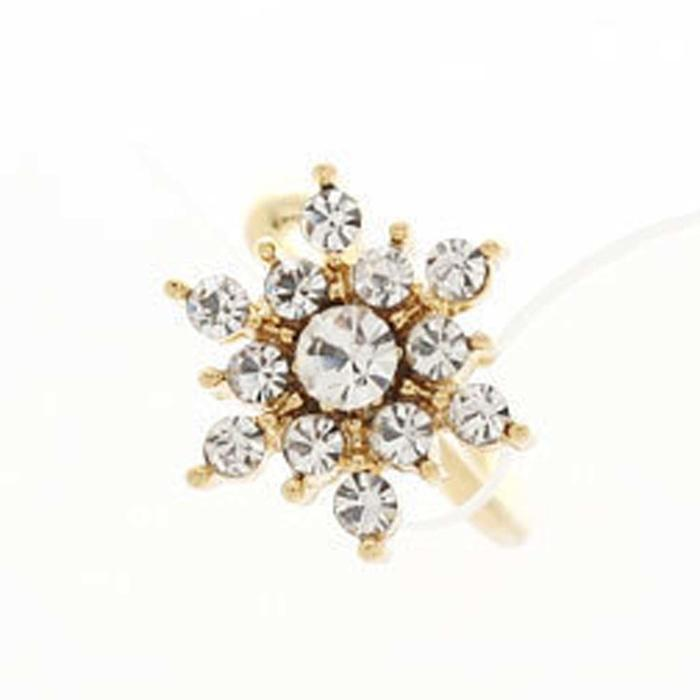 Anting Klip Salju / Diamond Snowflake Ear Bones Clip NUZ043 - 2 .
