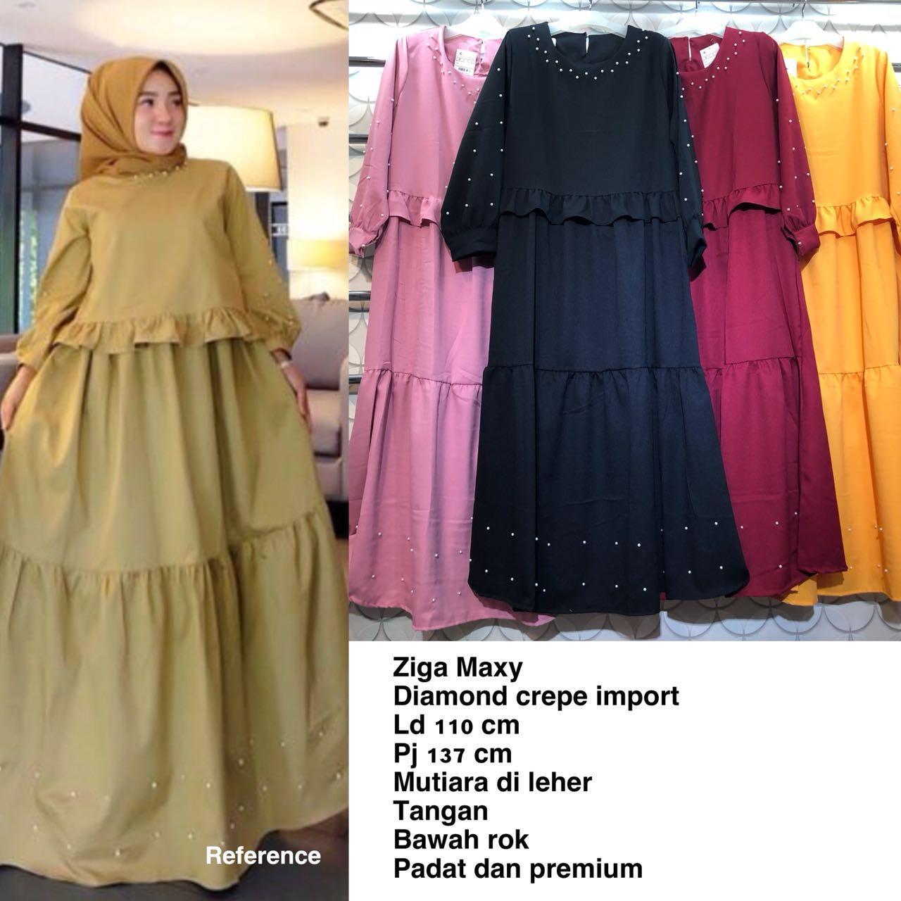 Gamis Wanita Diamond Crepe Import Variasi Mutiara / Ziga Maxy / Baju Muslim Wanita / Gamis Trendy / Gamis Busui / Gamis Murah