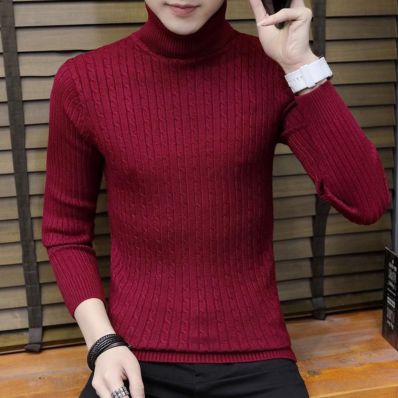 e26ccf94d09 High Collar Sweater man Crew Neck Korean Style Base Shirt Pullover Knitting  Shirt man Versatile Autumn