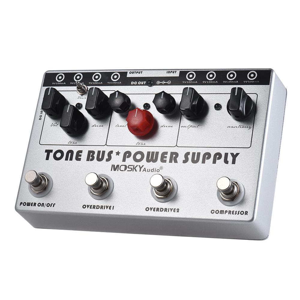 MOSKY Electric Guitar Combined Effect 3 Effects (Compressor + Tube Overdrive + Ultimate Overdrive) + 8 Isolated DC 9V Power Supply Outputs