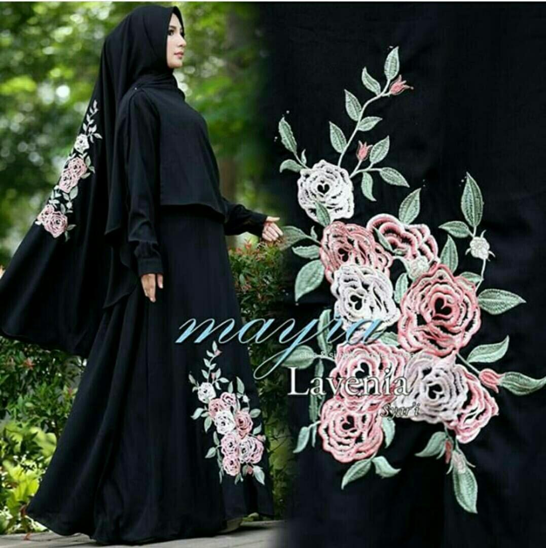 lunashop fashion Baju gamis kimmy warna hitam tanpa hijab bisa untuk menyusui model terbaru dan terlaris