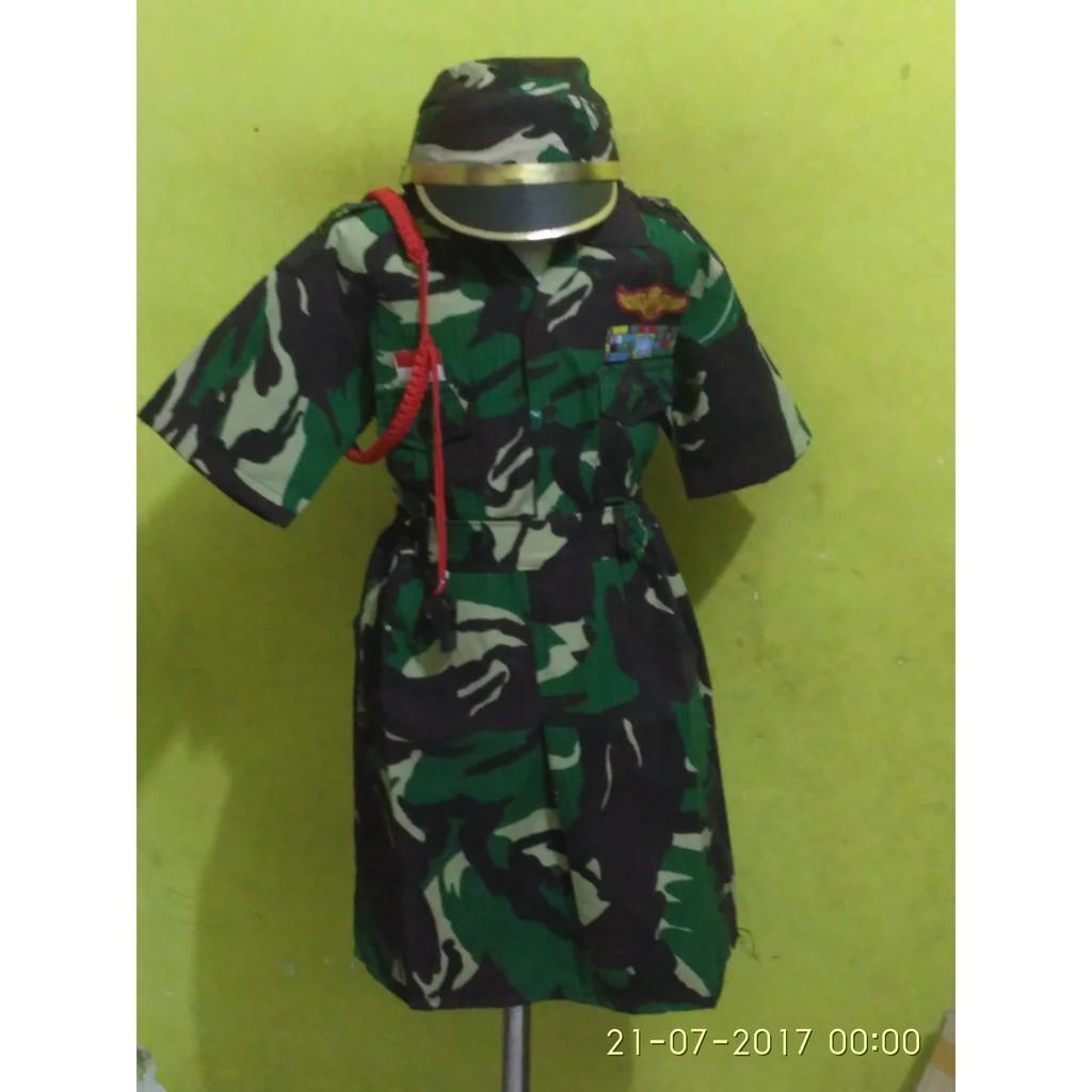 Baju Seragam Kostum Karnaval Profesi Anak Perempuan TNI Doreng Angkatan Darat ABRI