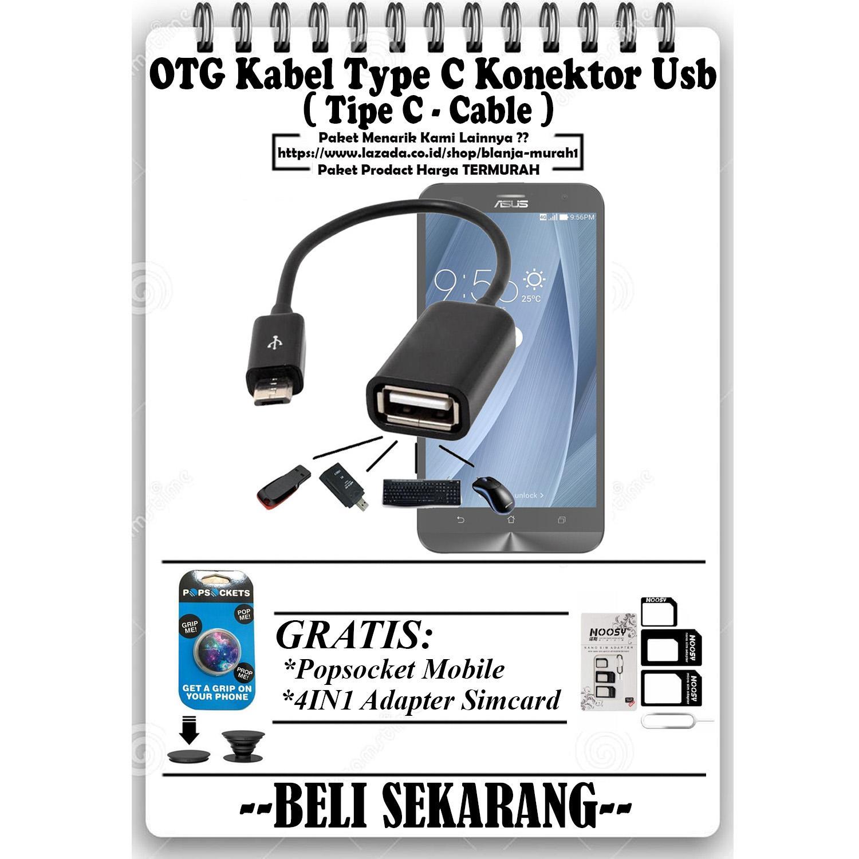 Trends OTG Kabel Type C Konektor Usb Tipe-C Cable - GRATIS Popsocket Mobile Phone & 4 IN 1 Adapter Simcard