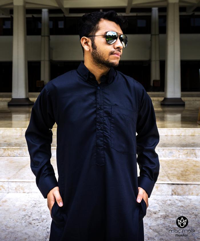 Gamis Pria Arab Hitam Lengan Panjang Keren dan Modern