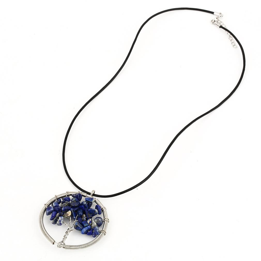 GOFT Fashion Rectangle/Round Woman Stone Pendant Charming Necklace With Hide Rope