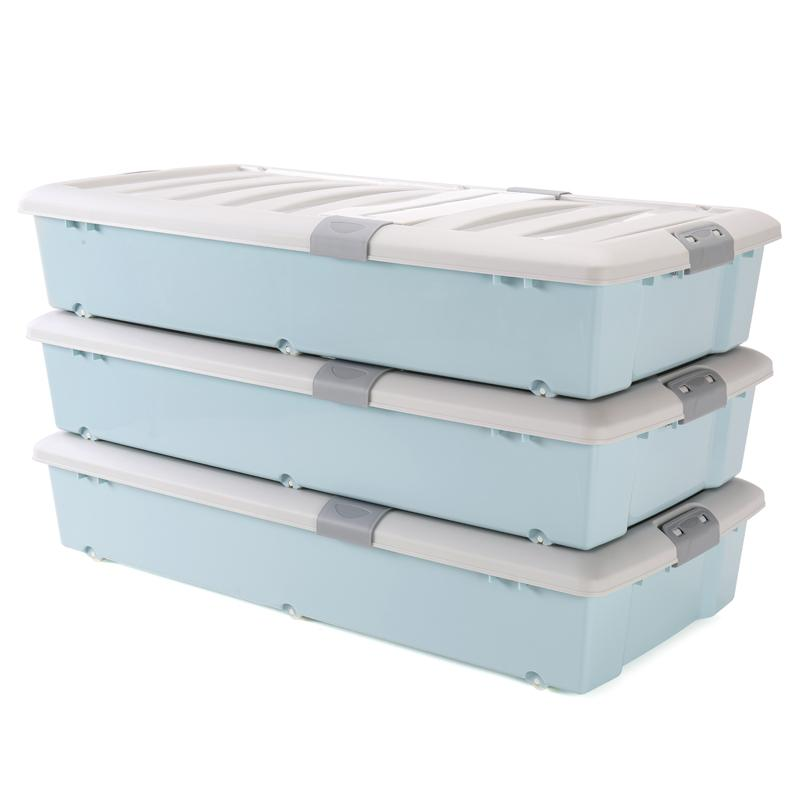 3 A Extra Large Bed the End of Storage Box Double Door under the Bed Storage Box Plastic Quilt Footlocker! Drawer Storage Box