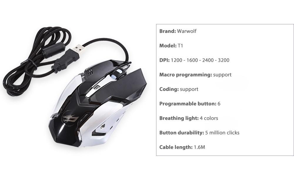 Warwolf T1 Optical 3200DPI 6D Wired Macro Programming Luminous Gaming Mouse
