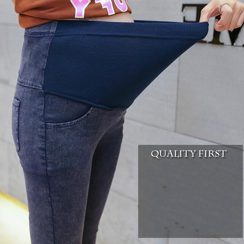 Kualitas Tinggi Celana Jeans Katun Bersalin Korea Celana Tinggi Elastisitas Diri Budidaya Celana Koboi Biru Hitam-Internasional