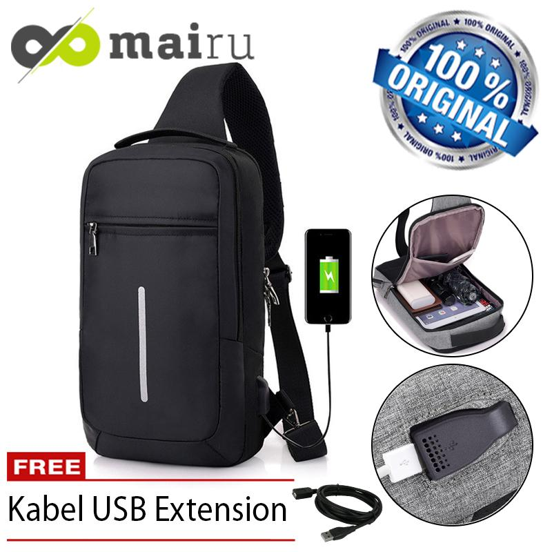 Mairu XDE Tas Selempang Sling Bag Anti Maling Cross Body With  USB Charger Support  For Iphone Ipad