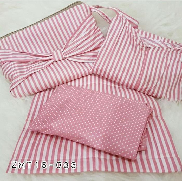 Mukena Katun Jepang Dewasa Travelling Seri Stripes Pink Free Sajadah
