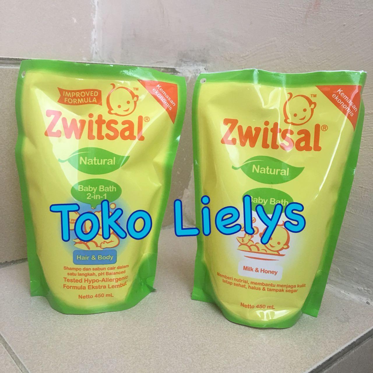 Zwitsal Natural Baby Bath 2in1 Hair & Body Minyak Telon Milk & Honey Pouch Refill 450ml