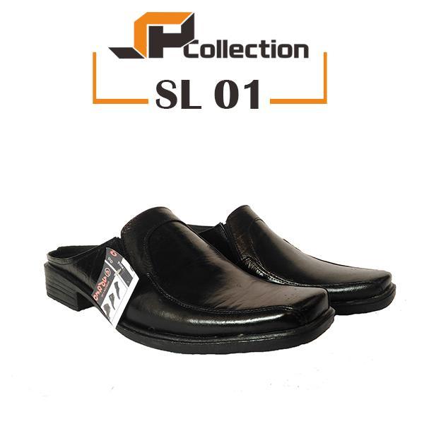 SPATOO Sandal Selop SL 01 Warna Hitam Bahan Kulit Sapi Asli Cocok Untuk Jalan Bareng Teman, Pesta, Segala Acara Formal Maupun Non Formal