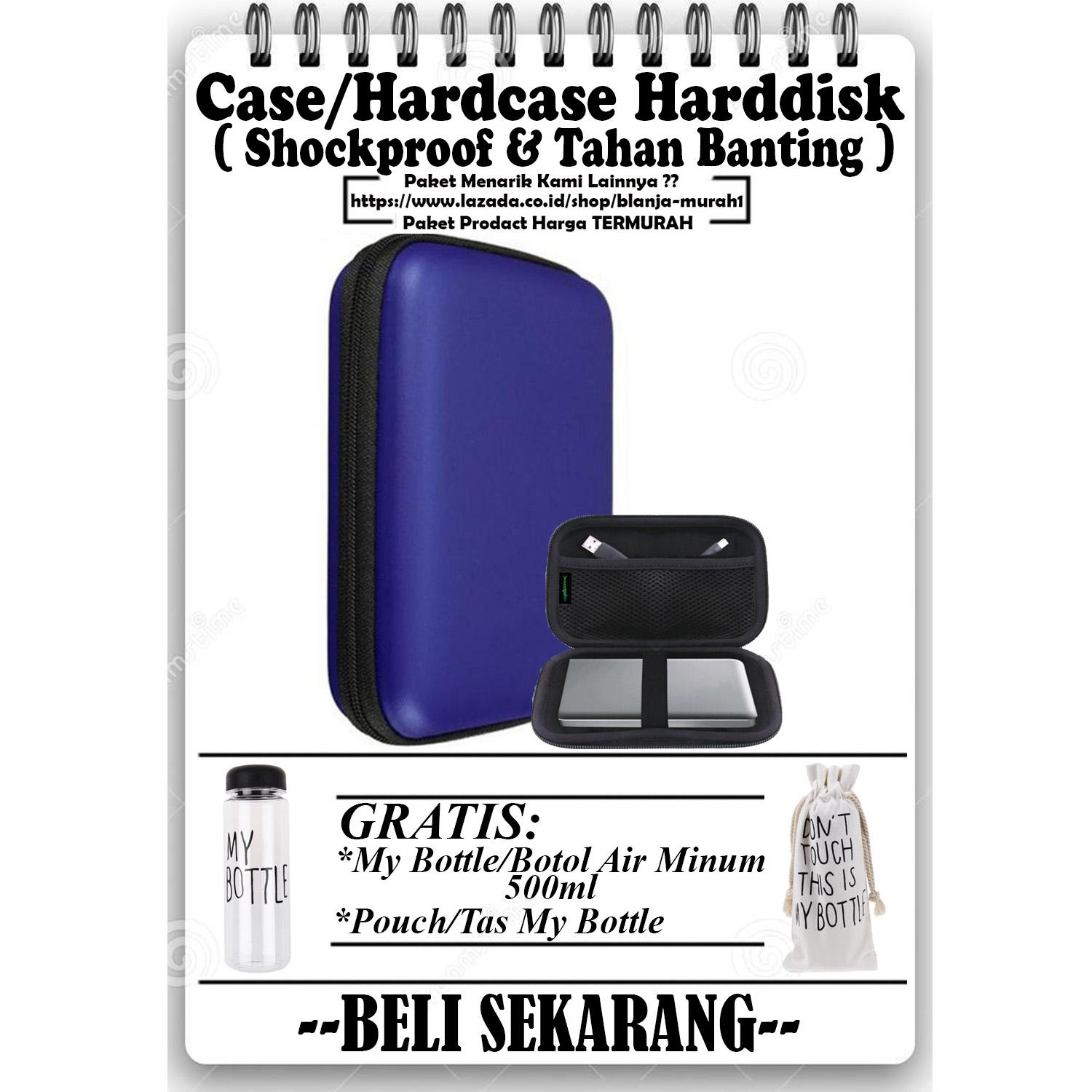 Promo Case harddisk Hard Case Shockproof Tas Hardisk / Powerbank Tahan Banting for External HDD 2.5 inch Pouch Bag - Biru - GRATIS My Bottle / Botol Air Minum 500ml