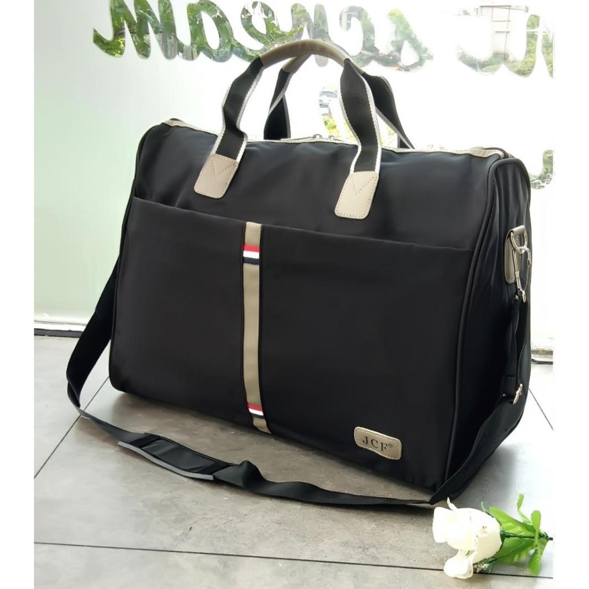 JCF Tas Travel Bag Import Kanvas Tebal Bagus Korean Style Fashion Wanita  Pria Tas Pakaian Multi Fungsi Tas jinjing Dan Tas Selempang – Milenial Black 51eddd6159