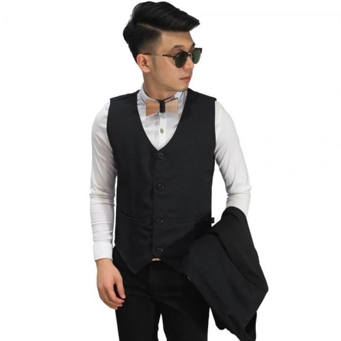 Vest Formal Basic Black/ Rompi Jas Hitam Cowok/Rompi Hitam Polos Murah - Oszgkq