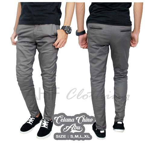 Celana Panjang Chino/ Chinos/ Cino Pria/Cowok - Abu Muda