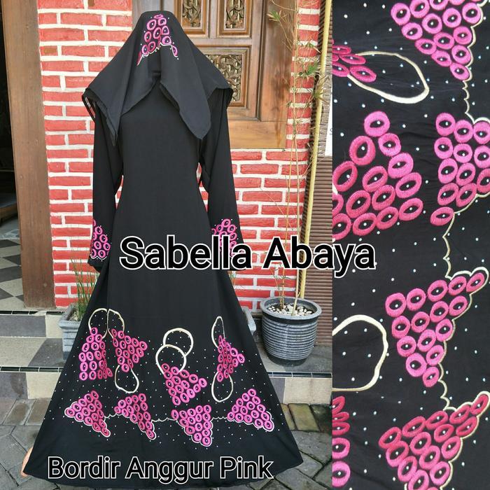 abaya bordir anggur pink  free pasmina sifon
