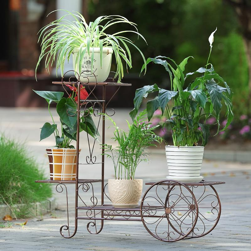MWT1 European Style Pergola Iron Art Multilayer Living Room Chlorophytum Epipremnum Aureum Shelf Terrace/Patio Snnei Landing Pastoral Flowerpot Shelf