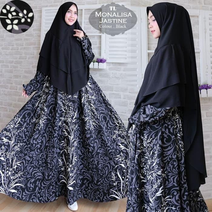 [Syari Monalisa Jastine Black TL] gamis muslim wanita monalisa hitam  Maxi Dress Lengan Panjang  / Gamis Syari / Gaun Pesta Muslimah / Baju Muslim Wanita Syar'i / FS