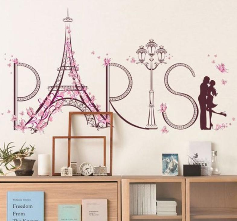 Wall sticker Eiffell Tower Lovers (90x60) SK9007 Stiker Dinding