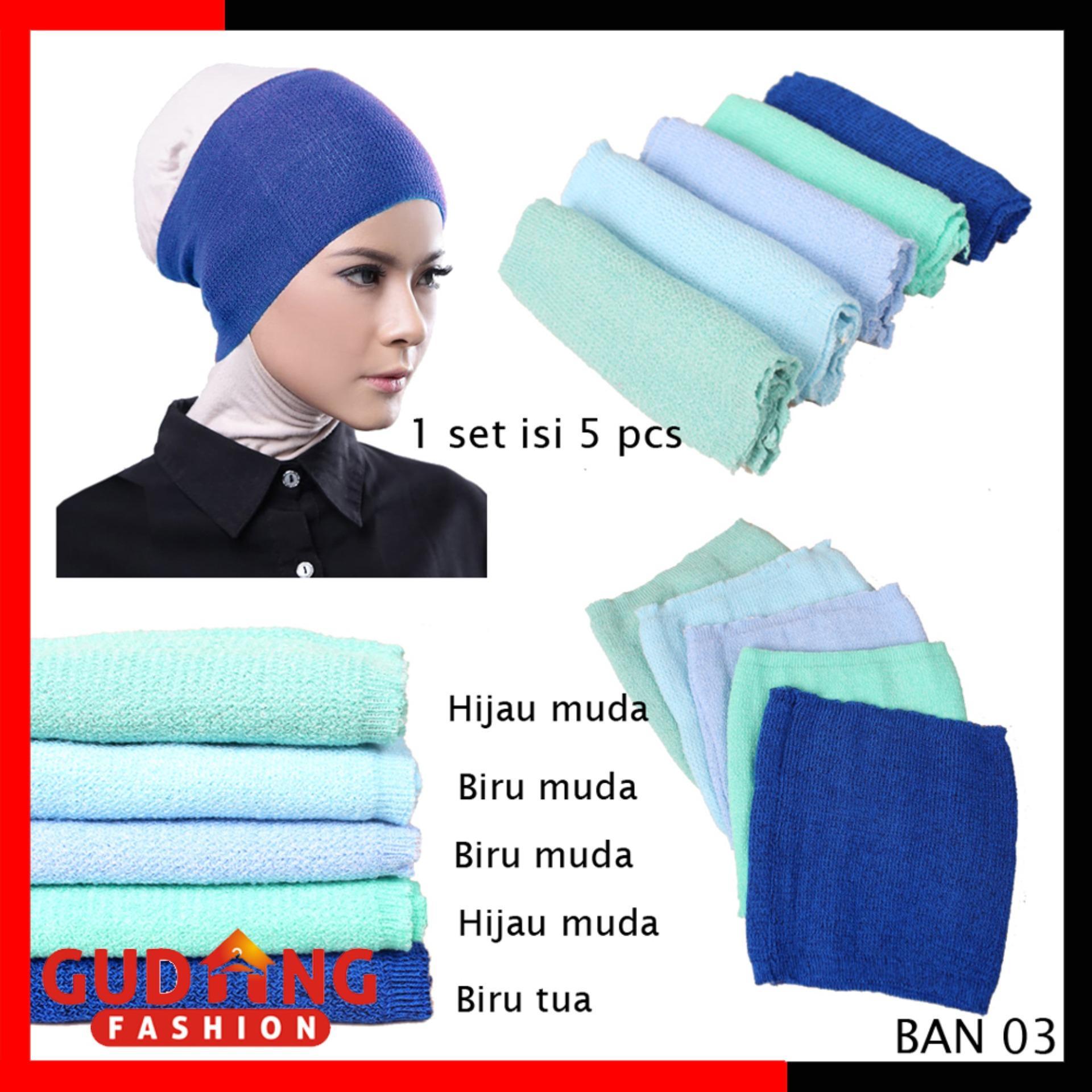 Gudang Fashion - Inner Bandana Rajut 2 Warna / Dalaman Jilbab Hijab Isi 5 Pcs - Kombinasi Warna
