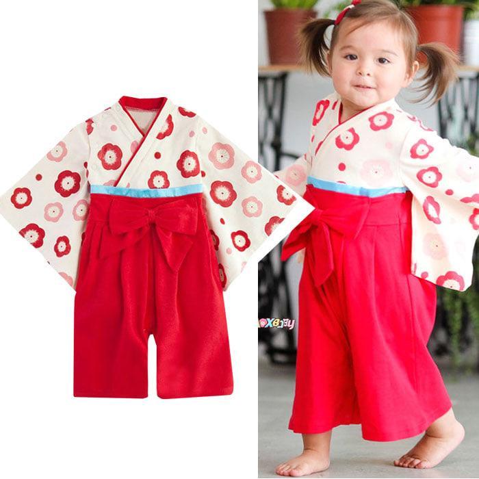 SE1717  Kimono Yukata Jepang Anak Cewek Perempuan Lucu Red Flowers  3 tahun