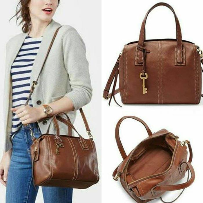 Tas Fossil Original. Fossil Emma Satchel Brown Leather NWT Authentic - leJcEX