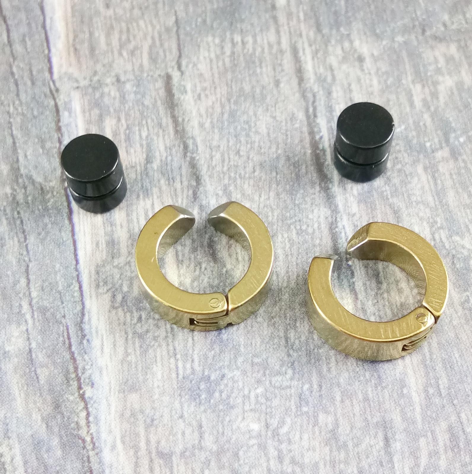 Anneui Paket Promo Anting Magnet - Hitam - 2 Pcs + BP0013 Anting Jepit - 2 pcs