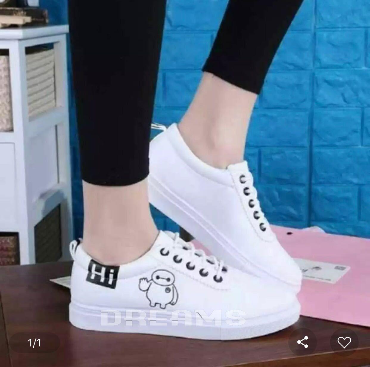 Milenial Sepatu Kets Wanita HI - Sepatu Sneakers Sport Wanita termurah - Putih