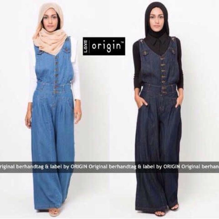 set jumpsuit denim celana kulot 2 warna (set hermes jeans VL) Disko