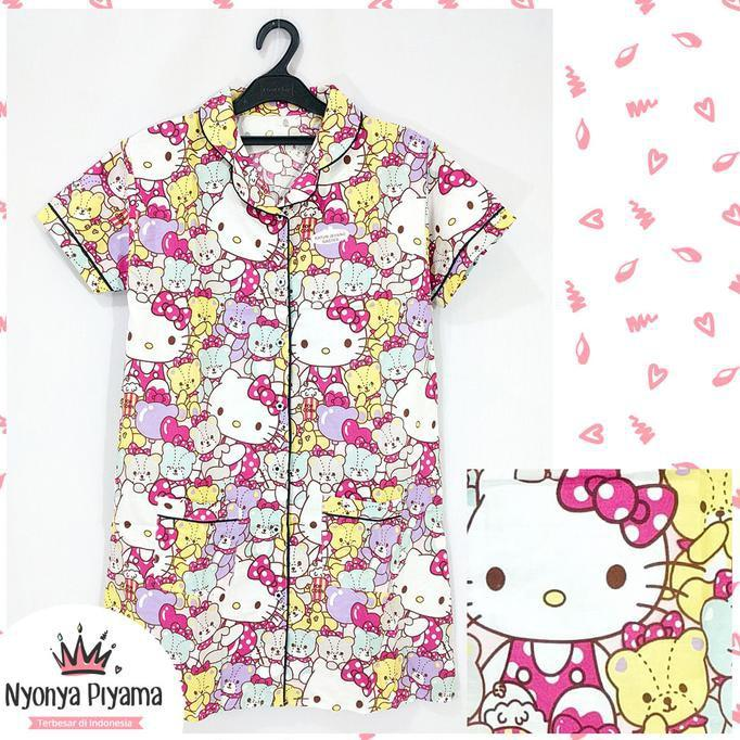 PIYAMA DASTER DEWASA KATUN JEPANG - HELLO KITTY TEDDY BEAR - SALE PROMO!!