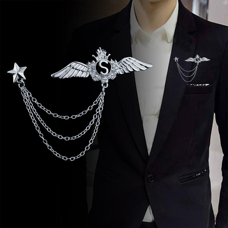 15c9aa57195 Europe And America Versatile Men Brooch Tassels Chain Five-pointed Star  Cross Suit Brooch Fashion