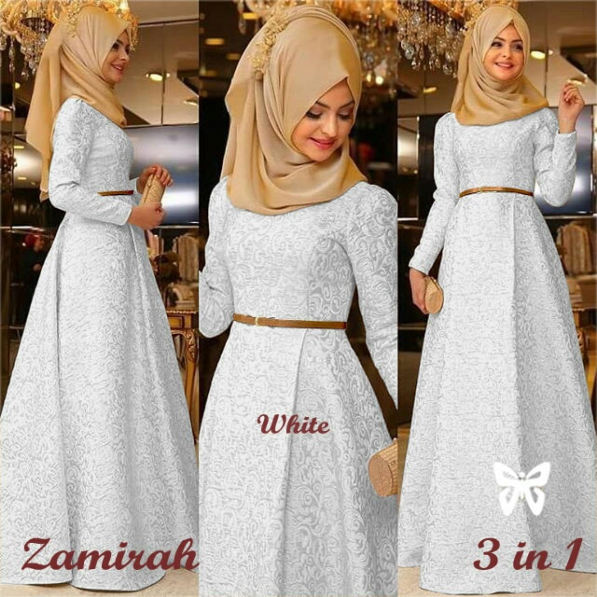 Baju Wanita Shop Dress Gamis Muslim Mirah / Hijab Muslim / Muslim Syari Hijab Syar'i / Busana Muslimah / Kebaya Modern Lebaran (Mirahza)  SS - Putih White / Gaun Pesta Lengan Panjang 2018