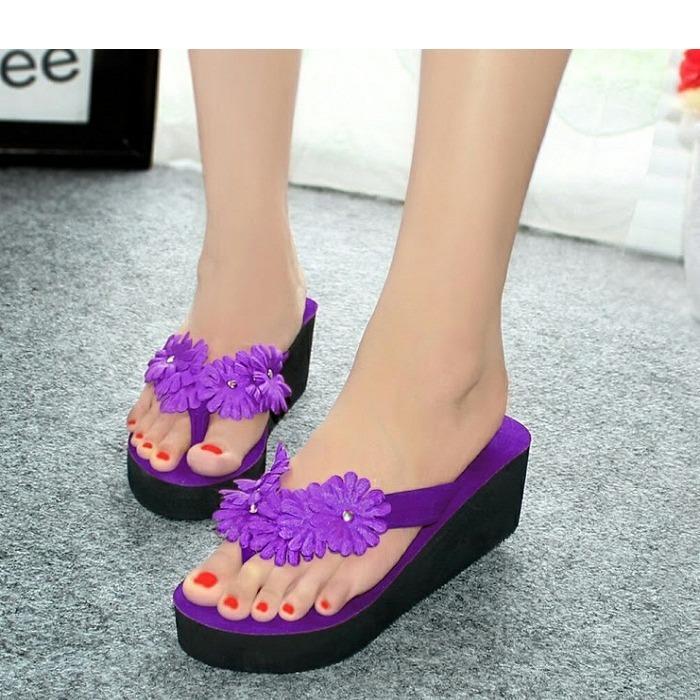 Sandal wanita Wedges Spon Bunga Department Store