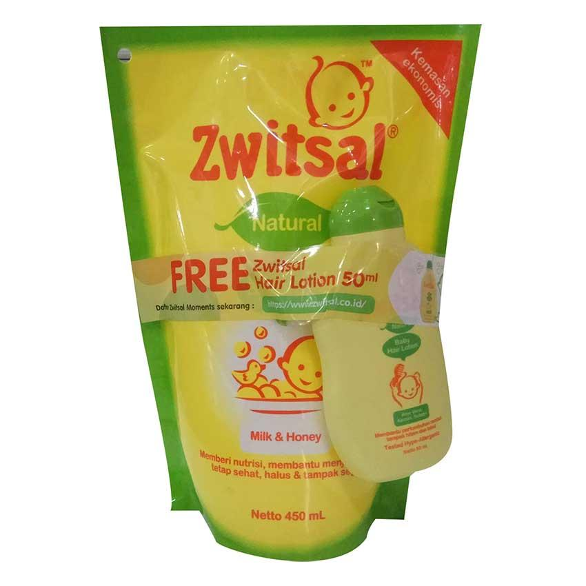 Zwitsal Baby Bath Natural  dengan Milk & Honey Refill - Pouch - 450ml+Zwitsal Hair Lotion 50ml