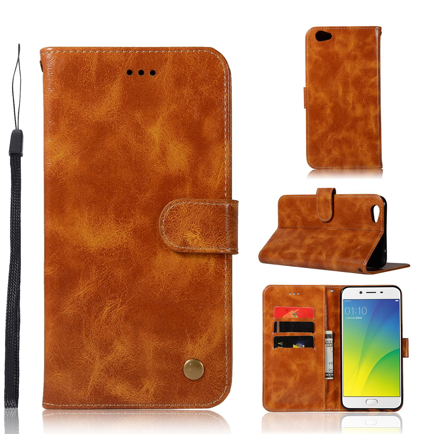 Casing For Oppo R9s,reto Leather Wallet Case Magnetic Double Card Holder Flip Cover By Life Goes On.