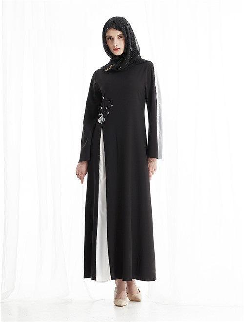 Muslim Dress Black women Abaya robe Clothes  Malaysia Islamic Clothingane Dress  (No pockets and scarves)