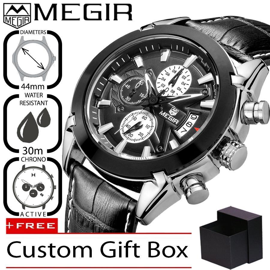 Megir 2020 Jam Tangan Pria Premium Business Luxury Analog Kulit 44 mm - Anti Air 30 M - Active Chronograph Watches