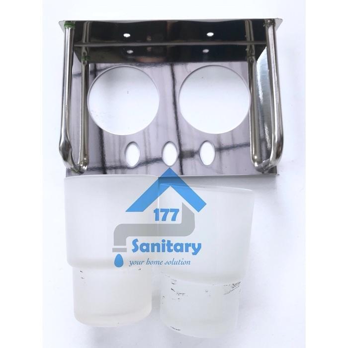 rak sikat gigi stainles gelas dua / tempat sikat gigi odol double - 4