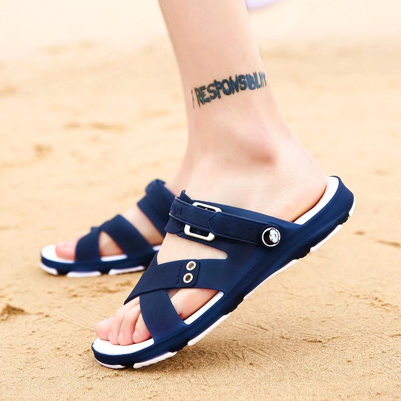 9badb07fd 2019 New Style Summer Men s Sandals Leisure Sandals Anti-slip Deodorizing  Students Sandals Dual Purpose