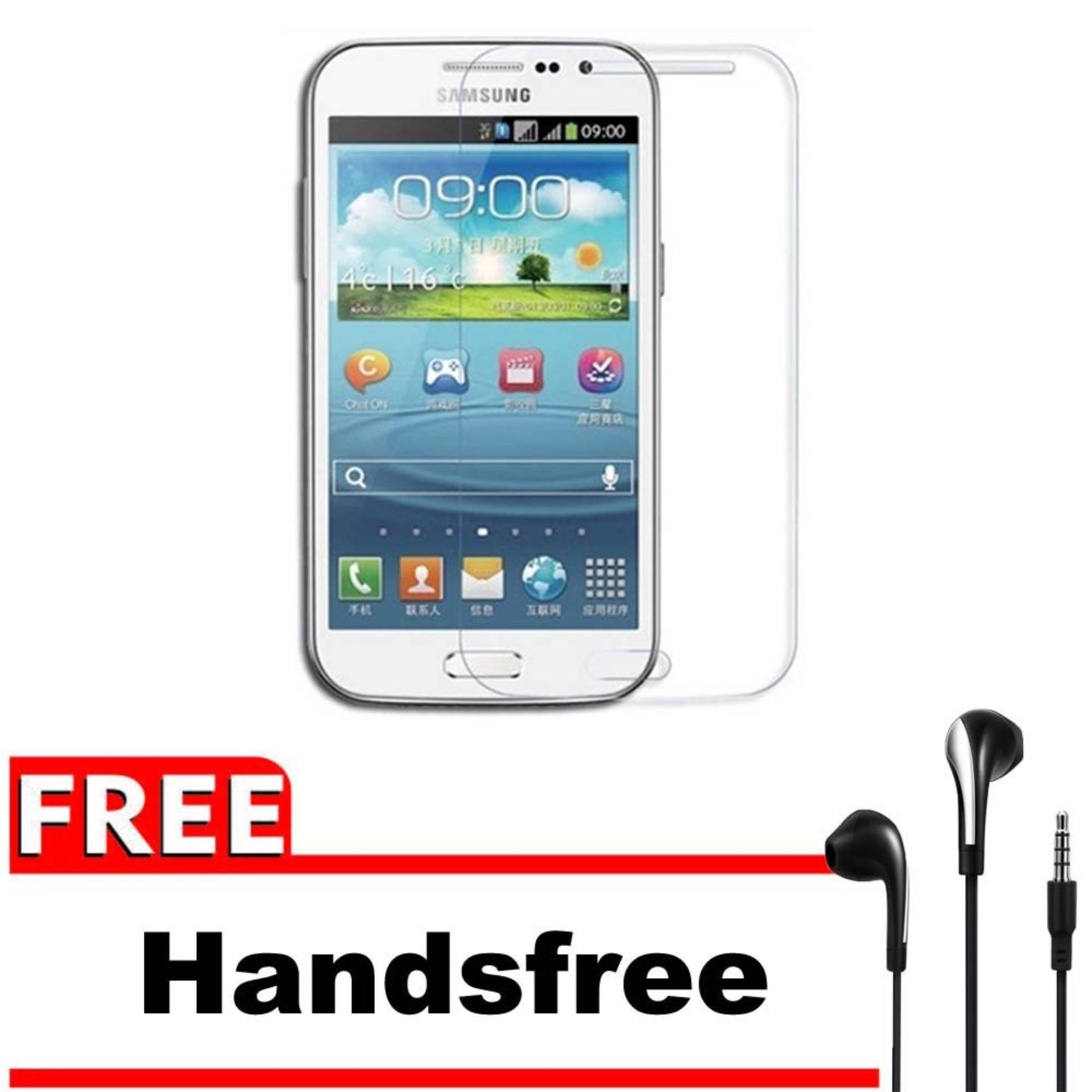 Vn Samsung Galaxy Win / Grand Quattro / I8550 / I8552 / Duos Tempered Glass 9H Screen Protector 0.32mm + Gratis Free Handsfree Earphone Headset Universal - Bening Transparan